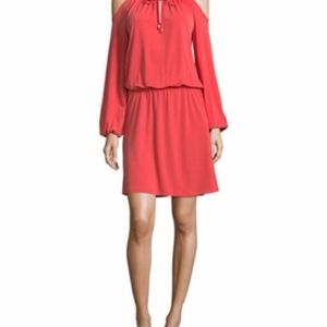 NWT Michael Kors Coral Cold Shoulder Dress Size S